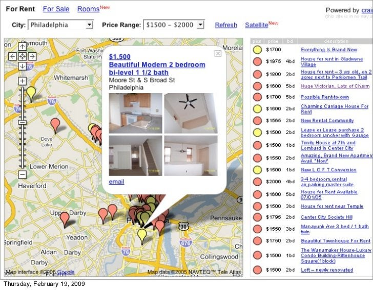 """housingmaps.com - the very first                      Google maps mashup                      • It was a """"hack."""" Google le..."""