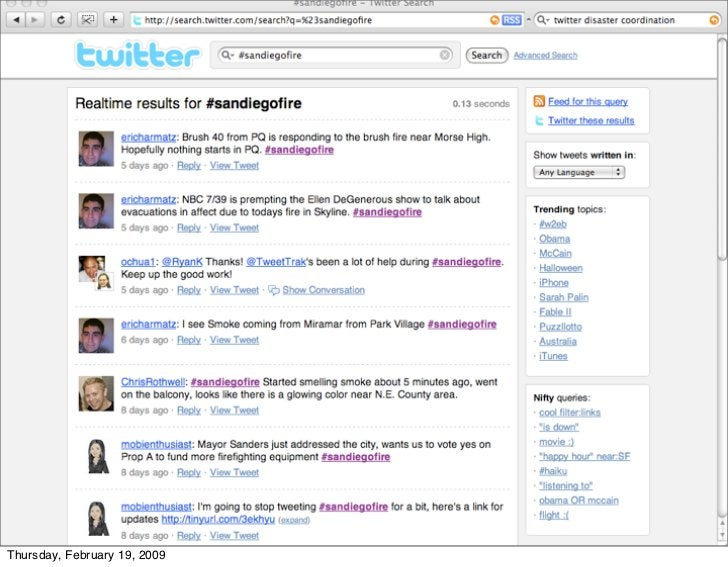Twitter hashtags and news - both                      hashtags and the real time search     Thursday, February 19, 2009