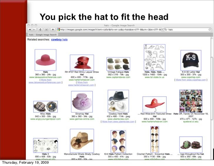 You pick the hat to fit the head     Thursday, February 19, 2009