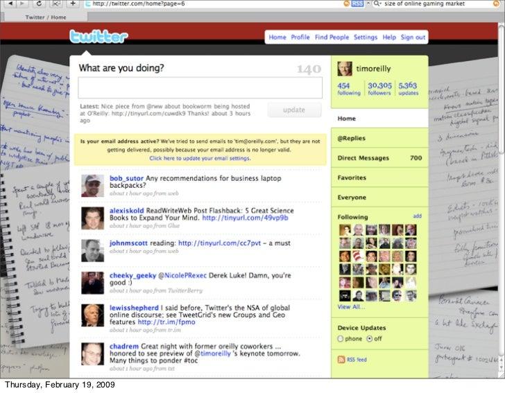 my twitter input feed     Thursday, February 19, 2009