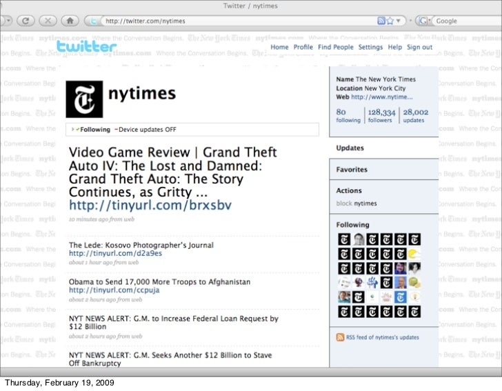 NyTimes twitter feed for contrast     Thursday, February 19, 2009