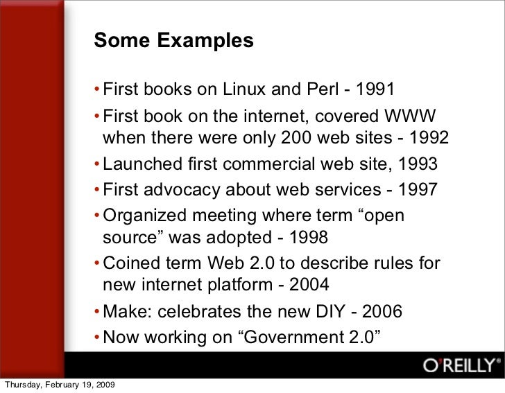 Some Examples                       • First books on Linux and Perl - 1991                      • First book on the intern...
