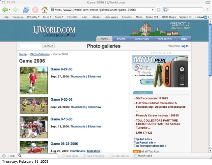 Adrian Holovaty at LJWorld.com -                      creating a context for people to share        51 Thursday, February ...