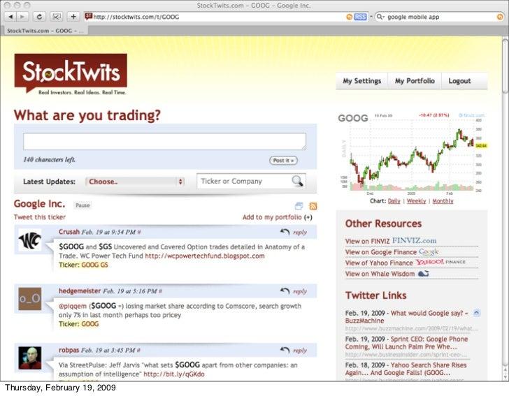 Stocktwits     Thursday, February 19, 2009