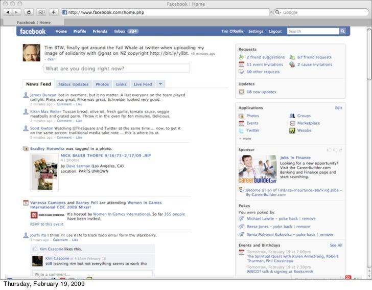 my facebook news feed     Thursday, February 19, 2009