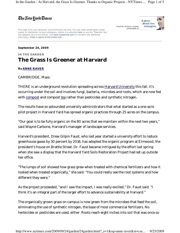 In the Garden - At Harvard, the Grass Is Greener, Thanks to Organic Projects - NYTimes.... Page 1 of 5      This copy is f...
