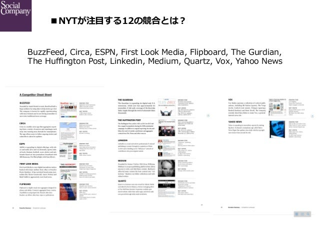 ■NYTが注⽬目する12の競合とは? BuzzFeed, Circa, ESPN, First Look Media, Flipboard, The Gurdian,  The Huffington Post, Link...