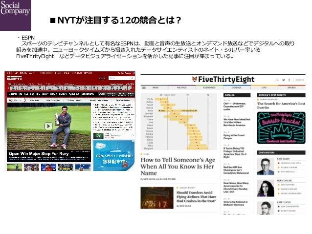 ■NYTが注⽬目する12の競合とは? ・ESPN  スポーツのテレビチャンネルとして有名なESPNは、動画と⾳音声の⽣生放送とオンデマンド放送などでデジタルへの取り 組みを加速中。ニューヨークタイムズから招き⼊入れたデータサイエンティスト...