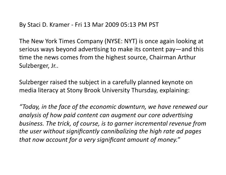 new york times paywall case study hbs One of the most significant milestones of the bezos era came in october 2015, when the post moved ahead of the new york times in web traffic as is the case with virtually all newspapers, the post's print edition has shrunk substantially over the years and will almost certainly continue to do so.