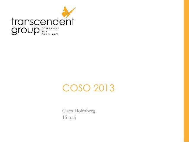 COSO 2013 Claes Holmberg 15 maj