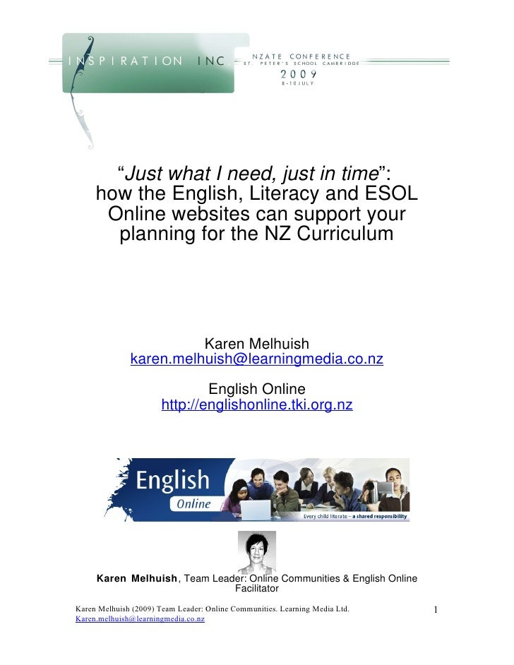 """""""Just what I need, just in time"""":      how the English, Literacy and ESOL       Online websites can support your        pl..."""