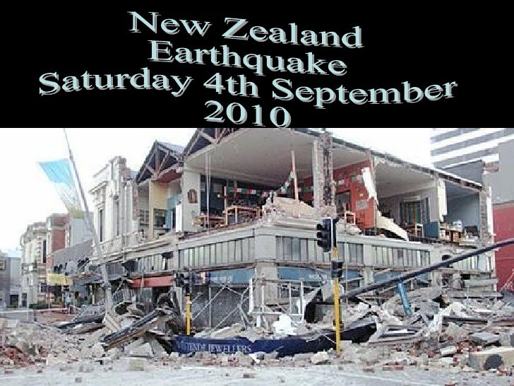 New Zealand Earthquake Saturday 4th September 2010