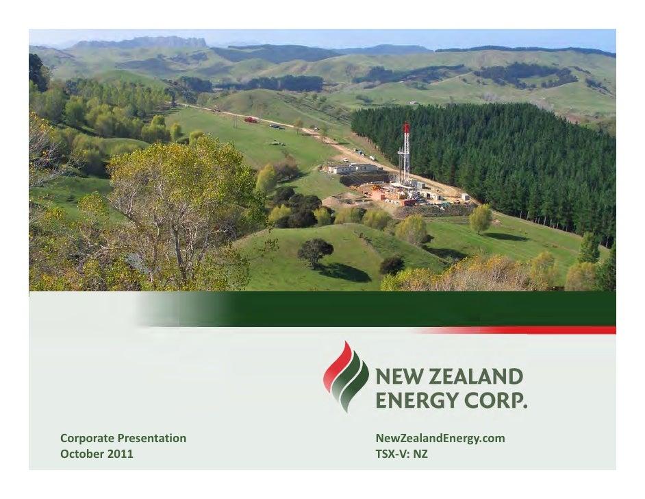 New Zealand Energy Corp.CorporatePresentation      NewZealandEnergy.comOctober2011                TSX‐V:NZ