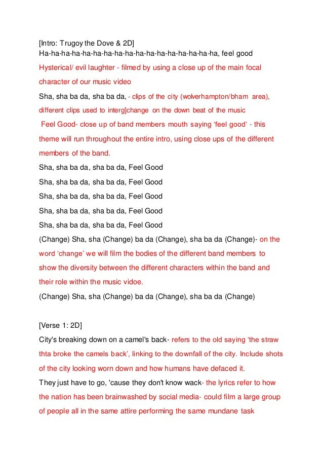 Feel Good Inc. lyric analysis
