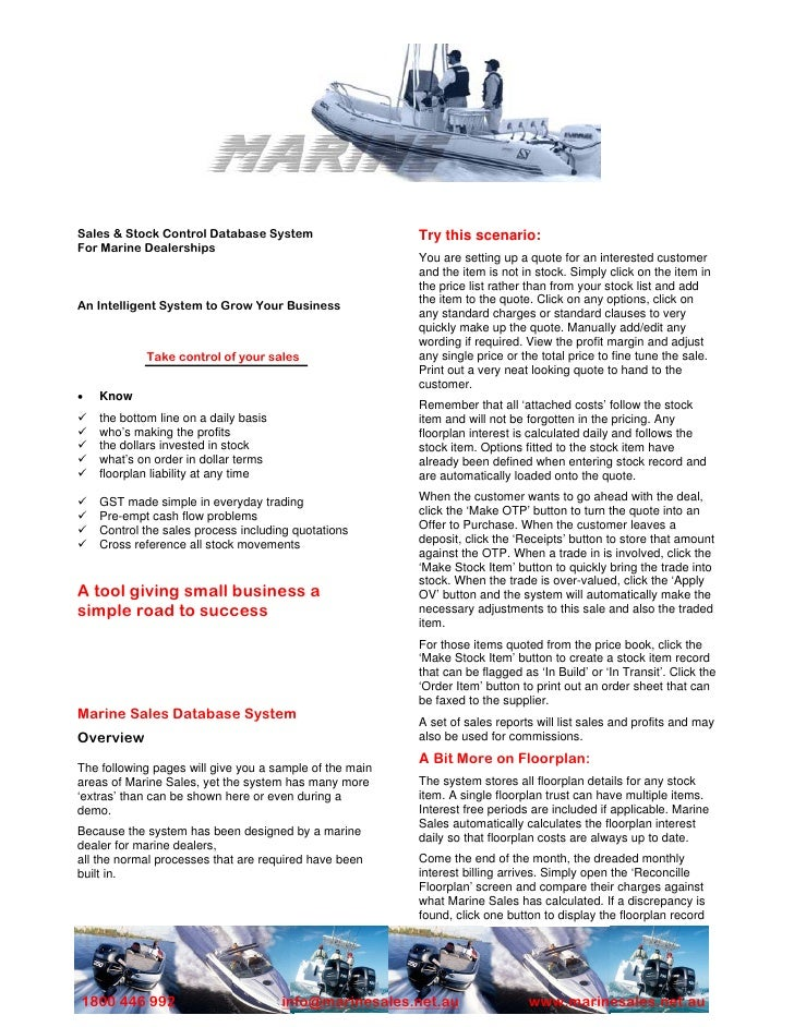 Sales & Stock Control Database System                    Try this scenario: For Marine Dealerships                        ...