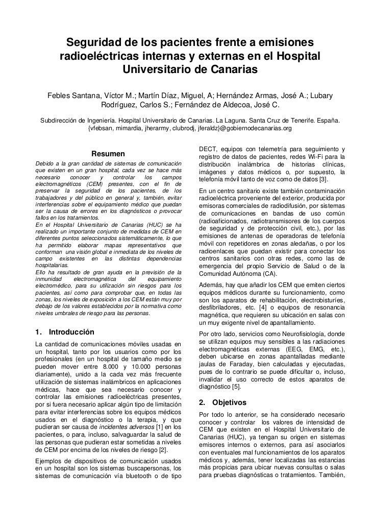 Seguridad de los pacientes frente a emisiones         radioeléctricas internas y externas en el Hospital                  ...