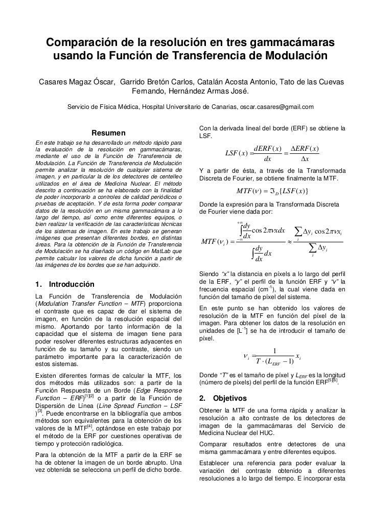 Comparación de la resolución en tres gammacámaras     usando la Función de Transferencia de Modulación Casares Magaz Óscar...