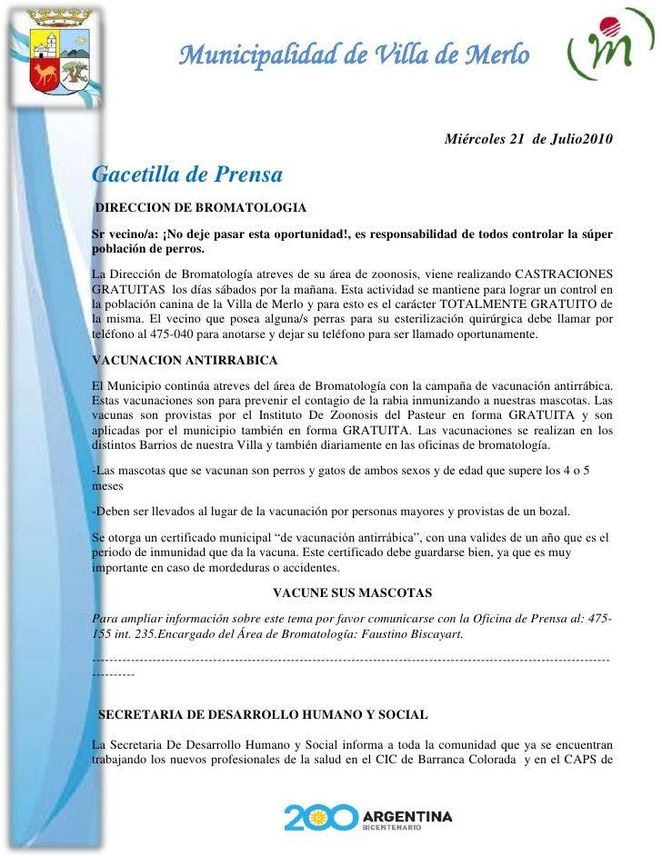 Municipalidad de Villa de Merlo                                                                                   Miércole...