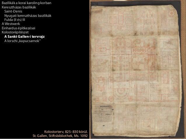 Kolostorterv, 825–830 körül.St. Gallen, Stiftsbibliothek, Ms. 1092Bazilikák a korai karoling korbanKeresztházas bazilikákS...