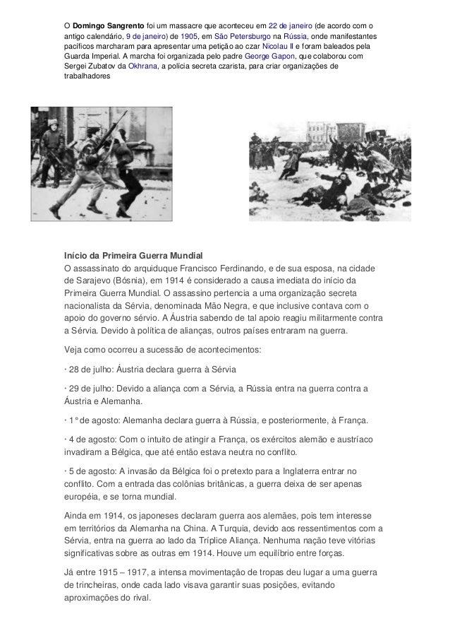 O Domingo Sangrento foi um massacre que aconteceu em 22 de janeiro (de acordo com oantigo calendário, 9 de janeiro) de 190...