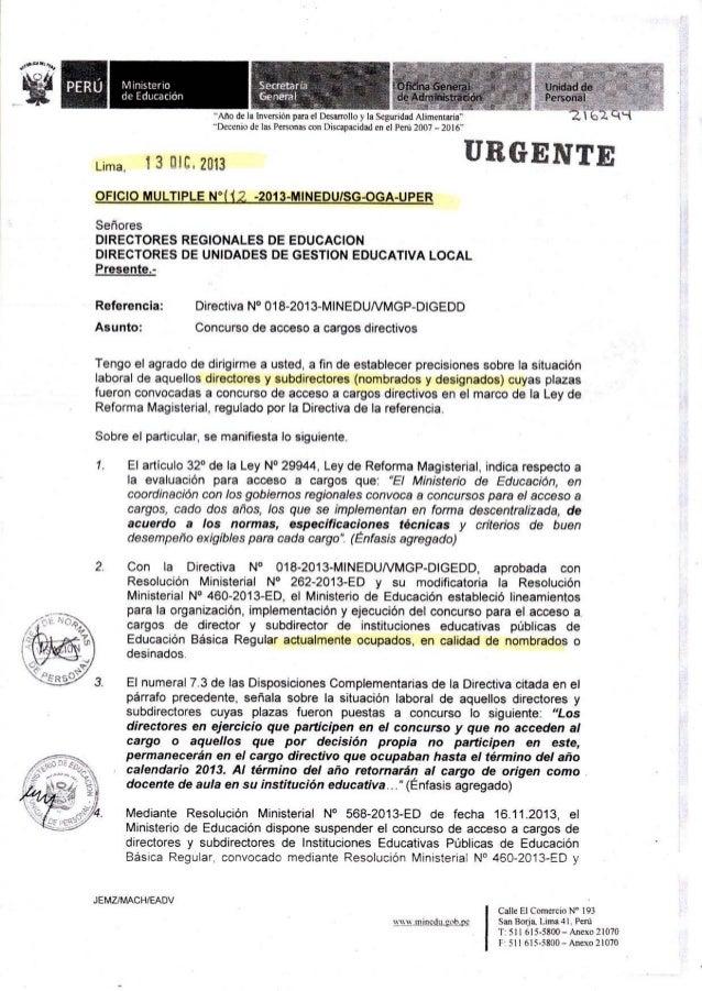 Situación laboral de Directores y Sub-Directores cuyas plazas fueron convocadas a concurso público (O.M_112- 2013-MINEDU-S...