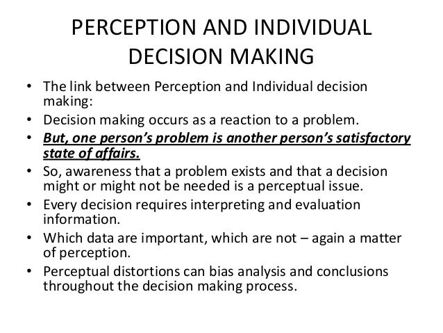 individual perception Individual perception paula c price mt302-02 attitudes can have a significant effect on the behavior of a person at work in the world of work we are concerned with.