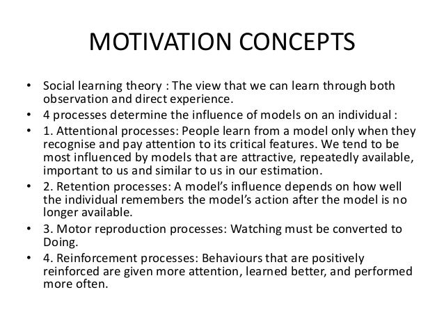 concepts of motivation 1intoduction 11 12 12 14 define motivation process describe the four early theories of motivation applicability of this theory today.