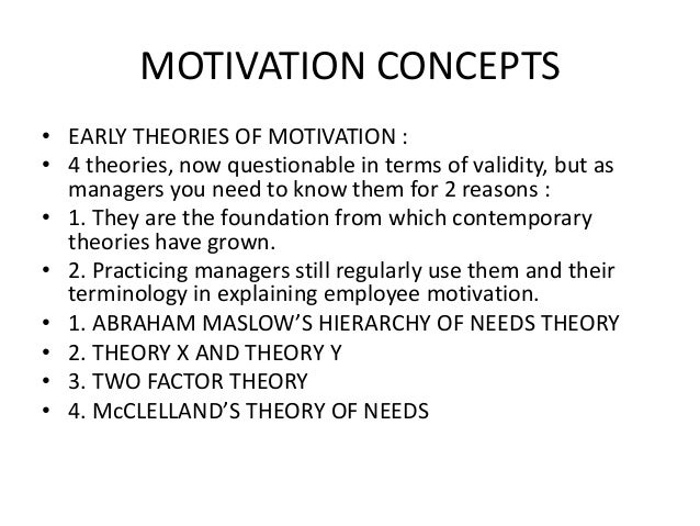 concepts of motivation Literature review is fourfold: (a) to explore the ways in which motivation has been  defined  specificity of motivation and self-concept tends to increase with age,.