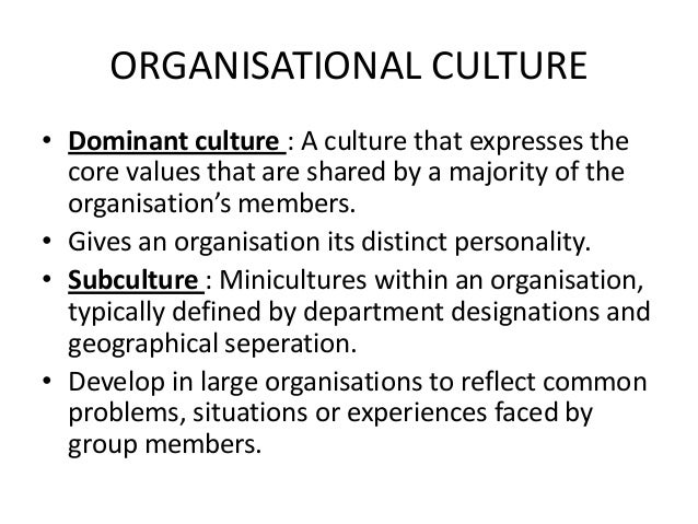 subcultures in organization The role of organizational culture on a subculture of feedback and the differentiation perspective, which suggests the existence of multiple, context-specific yet coher.