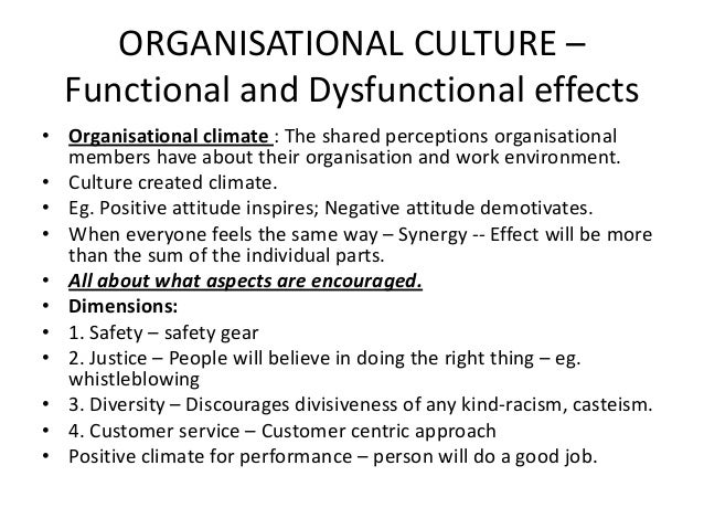 The impact of organisational culture