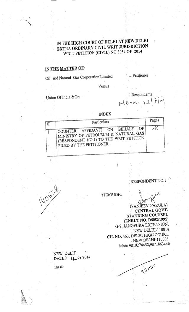 Counter Affidavit by Respondent 1 - Ministry of Petroleum