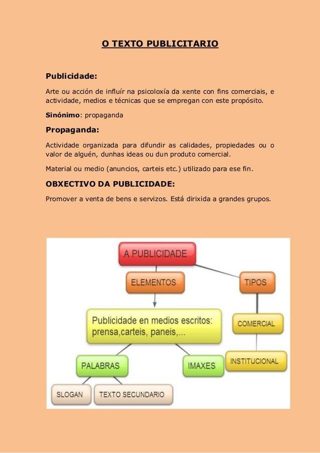 O TEXTO PUBLICITARIO  Publicidade: Arte ou acción de influír na psicoloxía da xente con fins comerciais, e actividade, med...