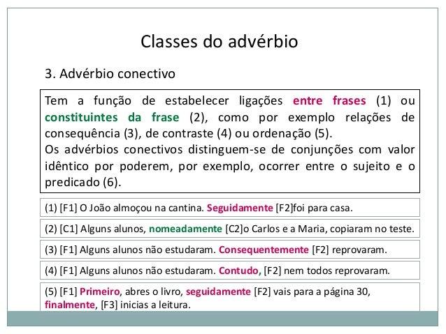 Classes do advérbio 3. Advérbio conectivo Tem a função de estabelecer ligações entre frases (1) ou constituintes da frase ...