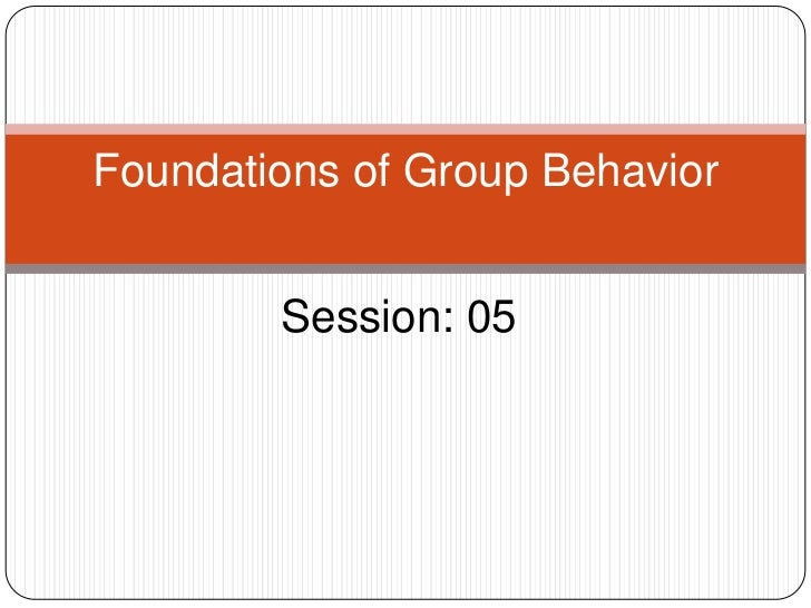 Foundations of Group Behavior        Session: 05