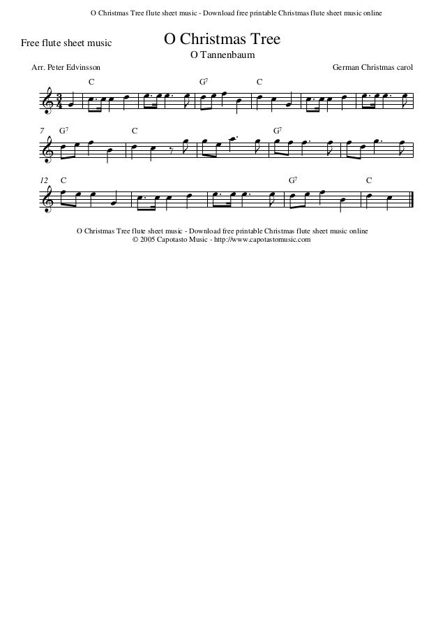 photo regarding Printable Flute Sheet Music identify O xmas-tree-flute