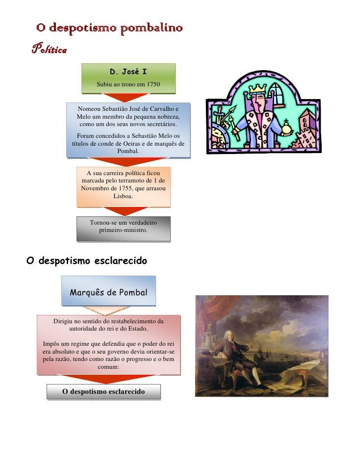 despotismo  O despotismo pombalino Política                             D. José I                        Subiu ao trono em...