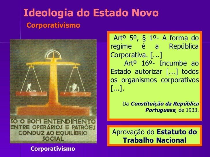 <ul><li>Artº 5º, § 1º- A forma do regime é a República Corporativa. [...] </li></ul><ul><li>Artº 16º- Incumbe ao Estado au...