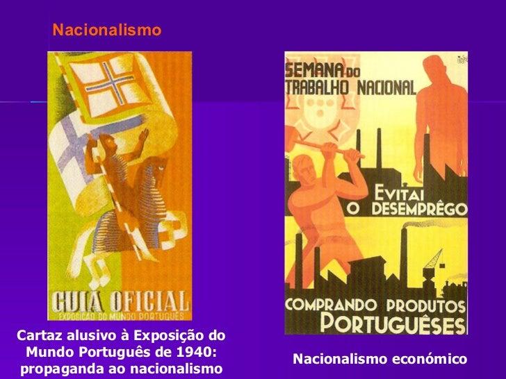 Cartaz alusivo à Exposição do Mundo Português de 1940: propaganda ao nacionalismo Nacionalismo económico Nacionalismo