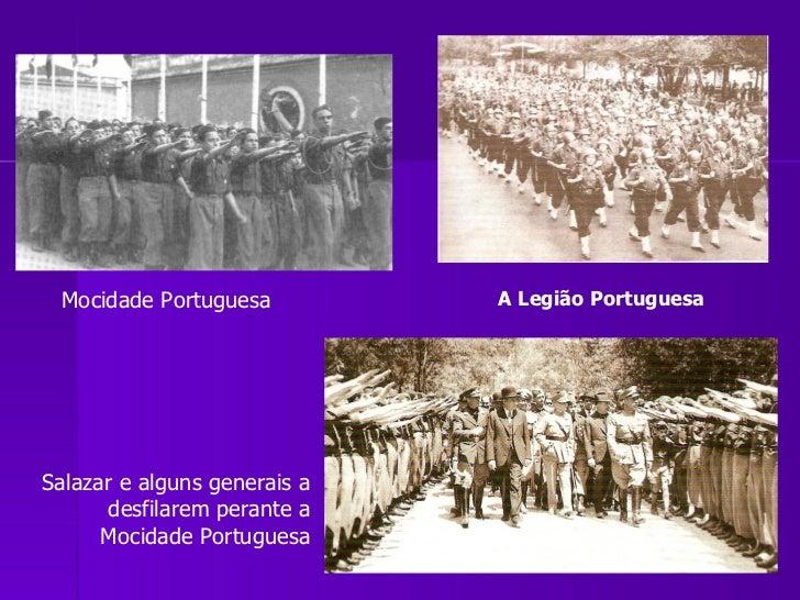 Salazar e alguns generais a desfilarem perante a Mocidade Portuguesa Mocidade Portuguesa A Legião Portuguesa