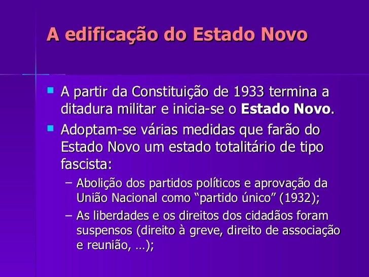 A edificação do Estado Novo <ul><li>A partir da Constituição de 1933 termina a ditadura militar e inicia-se o  Estado Novo...