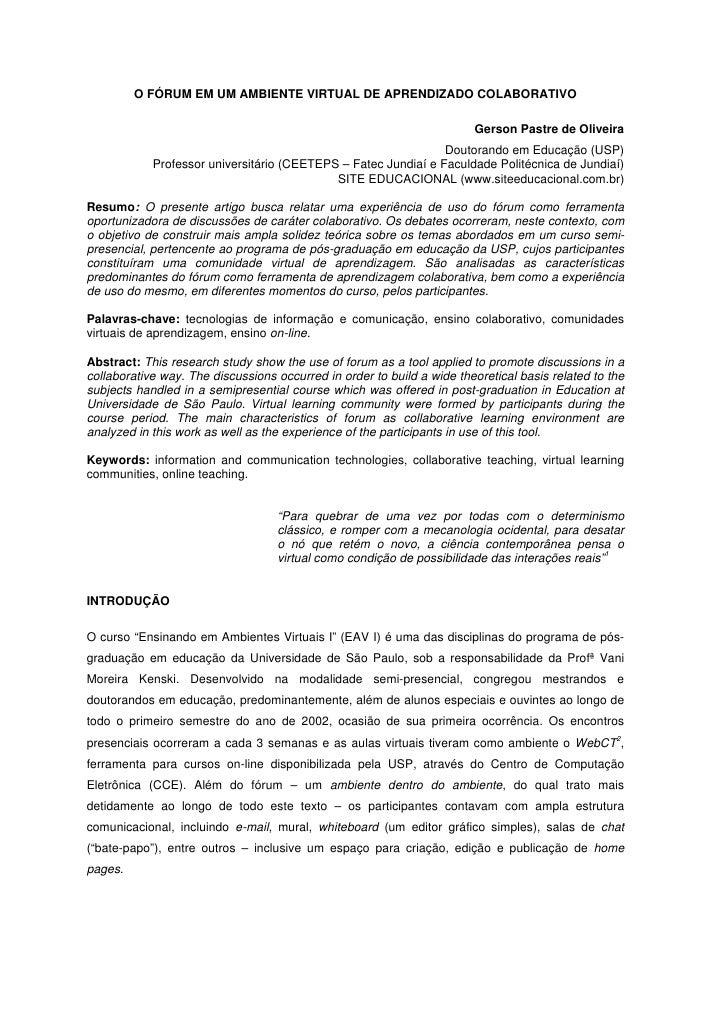 O FÓRUM EM UM AMBIENTE VIRTUAL DE APRENDIZADO COLABORATIVO                                                                ...