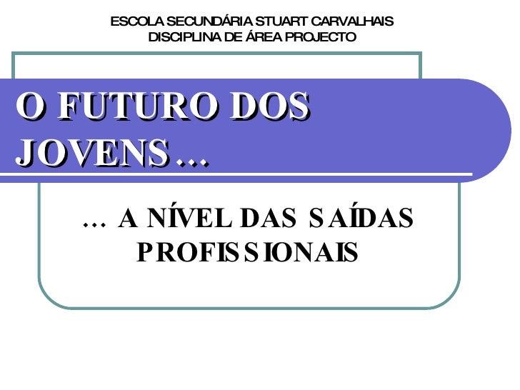 O FUTURO DOS JOVENS… …  A NÍVEL DAS SAÍDAS PROFISSIONAIS ESCOLA SECUNDÁRIA STUART CARVALHAIS DISCIPLINA DE ÁREA PROJECTO