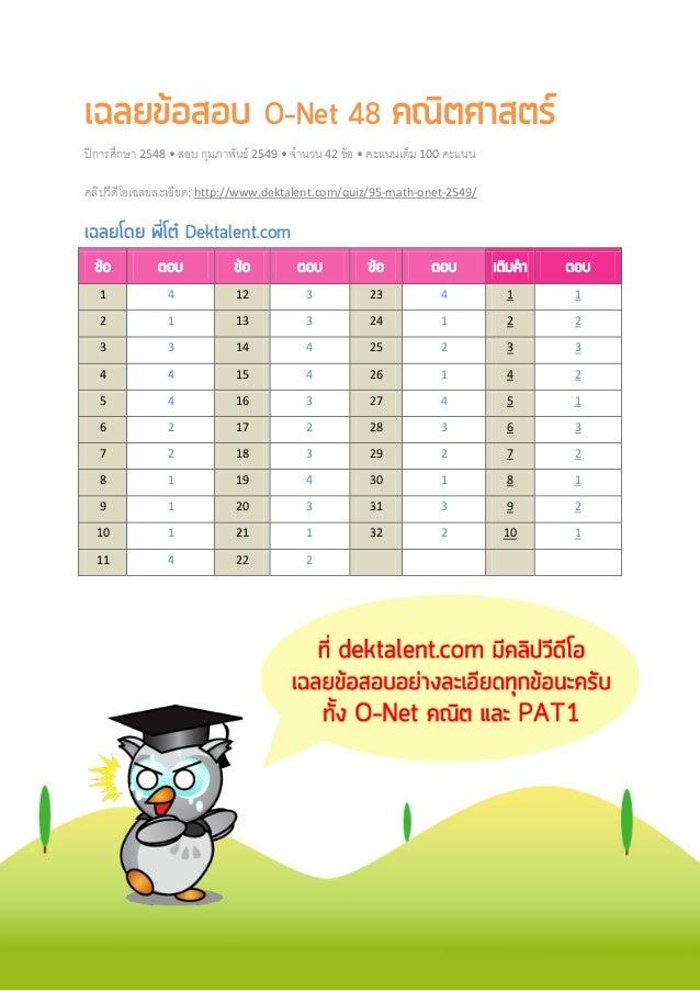 เฉลยขอสอบ O-Net 48 คณิตศาสตร ปีการศึกษา 2548 • สอบ กุมภาพันธ์ 2549 • จํานวน 42 ข้อ • คะแนนเต็ม 100 คะแนน คลิปวีดีโอเฉลยล...