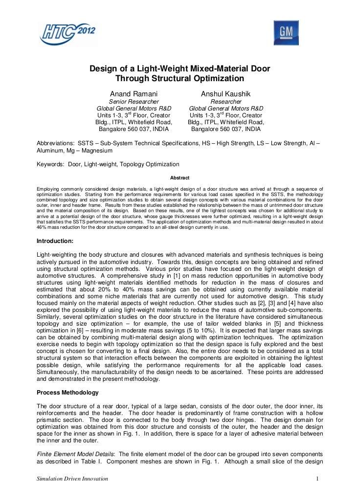 Design of a Light-Weight Mixed-Material Door                              Through Structural Optimization                 ...
