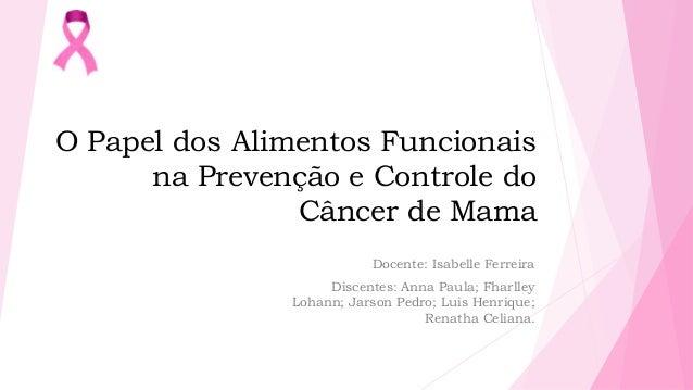 O Papel dos Alimentos Funcionais na Prevenção e Controle do Câncer de Mama Docente: Isabelle Ferreira Discentes: Anna Paul...