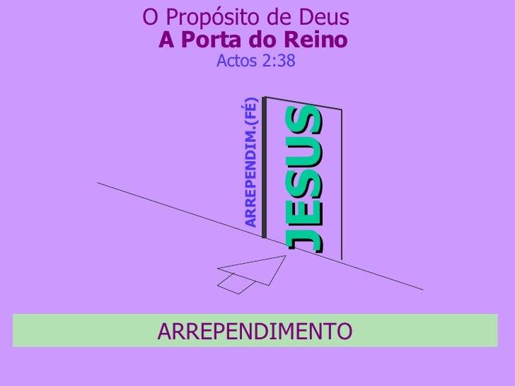 A Porta do Reino JESUS ARREPENDIM.(FÉ) Actos 2:38 O Propósito de Deus ARREPENDIMENTO