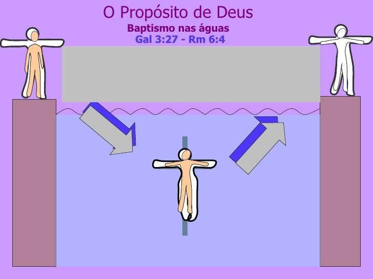 O Propósito de Deus Baptismo nas águas Porque todos quantos fostes  batizados em Cristo, de Cristo vos revestistes.   Gl 3...