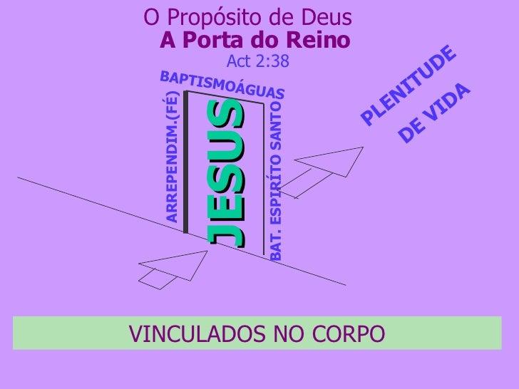 A Porta do Reino JESUS ARREPENDIM.(FÉ) BAPTISMOÁGUAS BAT. ESPIRÍTO SANTO PLENITUDE  DE VIDA Act 2:38 O Propósito de Deus V...