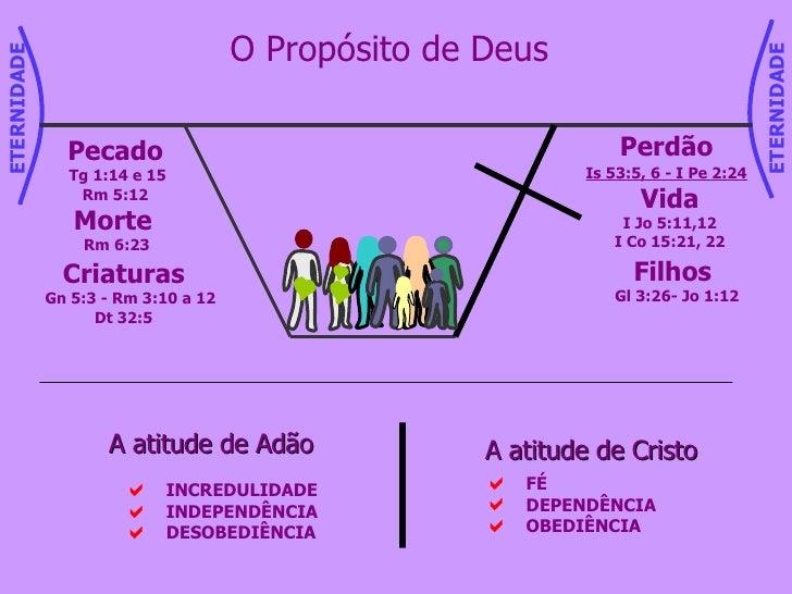 O Propósito de Deus Criaturas Gn 5:3 - Rm 3:10 a 12 Dt 32:5 Pecado Tg 1:14 e 15 Rm 5:12 Morte  Rm 6:23 Perdão Is 53:5, 6 -...