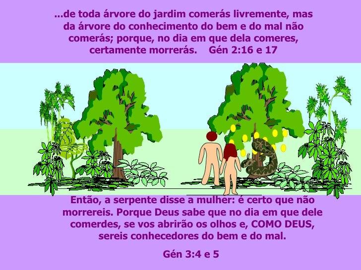 ...de toda árvore do jardim comerás livremente, mas da árvore do conhecimento do bem e do mal não comerás; porque, no dia ...